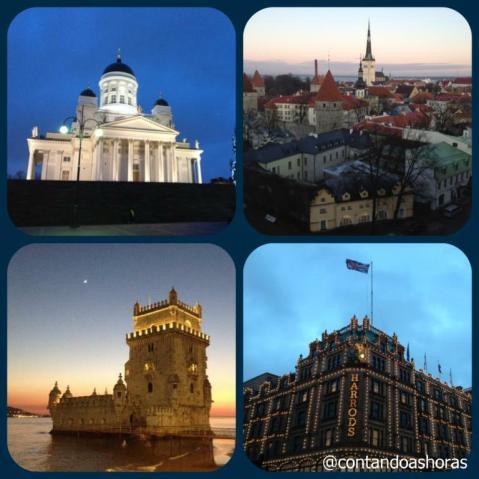 Da esquerda pra direita: Helsinki, Tallinn, Lisboa e Londres.