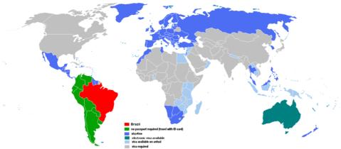 Os países marcados em azul escuro não exigem visto de brasileiros - Mapa retirado do site do Wikipédia