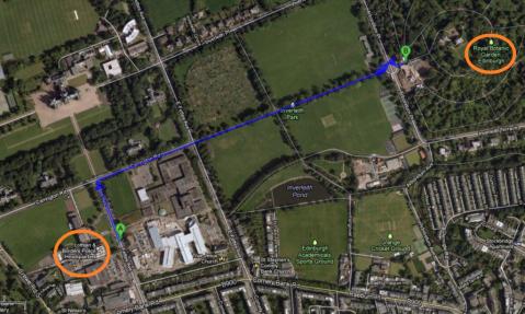 Legenda: (A) Lothian and Borders Police Headquarters e (B) Royal Botanic Garden Edinburgh