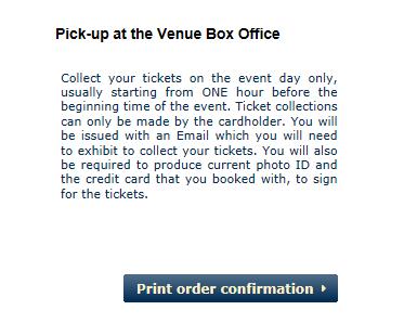 Confirmação de que o ticket deve ser retirado na própria Galeria mesmo, antes do tour iniciar